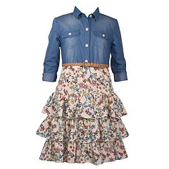 Girls 4-6x Bonnie Jean Denim Floral Dress
