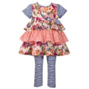 Girls 4-6x Bonnie Jean 2-Piece Striped Dress & Leggings Set