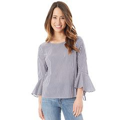 Juniors' IZ Byer Poplin Bell Sleeve Top