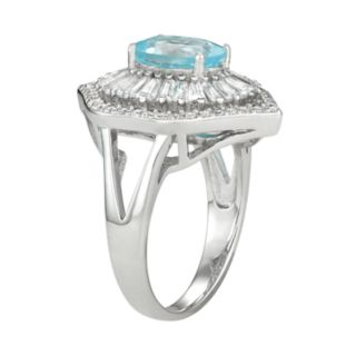 Sterling Silver Blue Topaz & Lab-Created White Sapphire Baguette Halo Ring