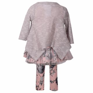 Girls 4-6x Bonie Jean 3-Piece Floral Dress, Cardigan & Leggings Set