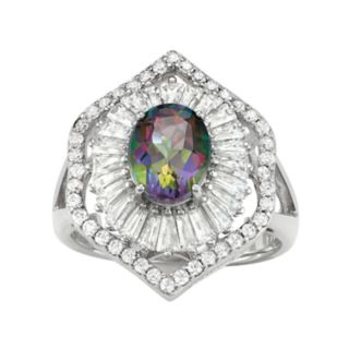 Sterling Silver Mystic Fire Topaz & Lab-Created White Sapphire Baguette Halo Ring