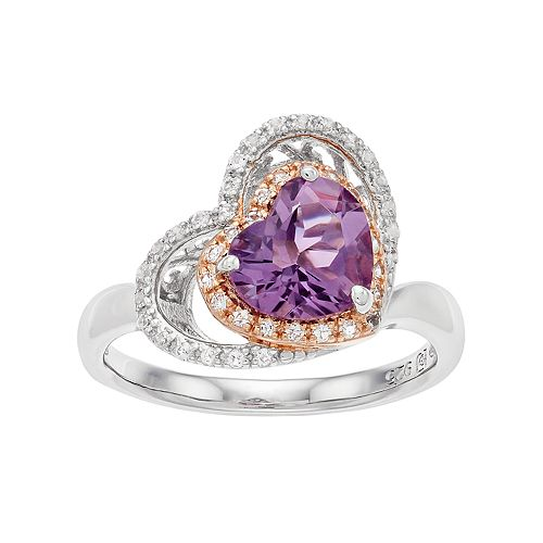 Two Tone Sterling Silver Amethyst & White Topaz Heart Halo Ring