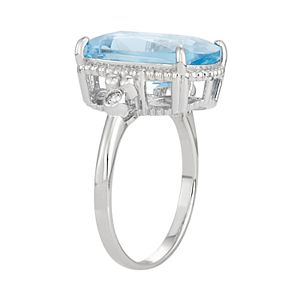Sterling Silver Lab-Created Aquamarine Ring