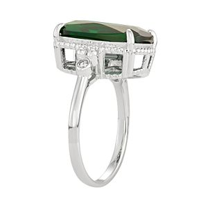 Sterling Silver Simulated Emerald & Lab-Created White Sapphire Ring