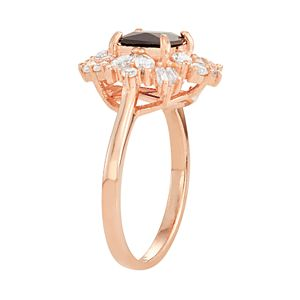 14k Rose Gold Over Silver Lab-Created Blue & White Sapphire Cluster Ring
