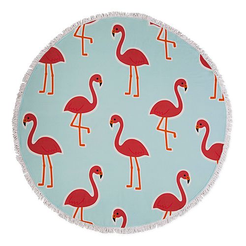 Seaside Living Round Flamingo Beach Towel