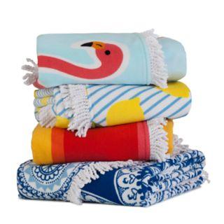 Seaside Living Round Flamingo Beach Towel