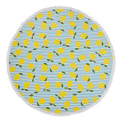 Seaside Living Round Lemon Stripe Beach Towel