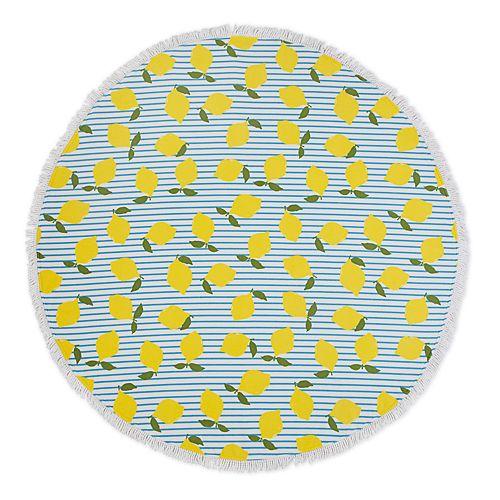 Seaside Living Round Lemon Stripe Beach Towel