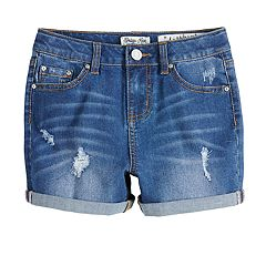 Girls 7-16 Indigo Rein High Rise Distressed Jean Shorts