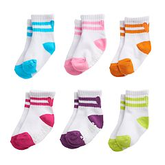 Baby / Toddler Girl Stride Rite 6-pack Striped Ribbed Crew Socks