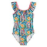 Girls 7-16 SO® Tropic Travels Ruffled One-Piece Swimsuit
