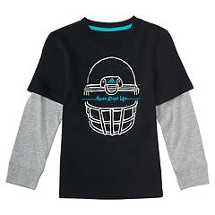 Boys 4-7x adidas 'Three Stripe Life' Mock-Layered Football Helmet Graphic Tee