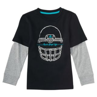 "Boys 4-7x adidas ""Three Stripe Life"" Mock-Layered Football Helmet Graphic Tee"