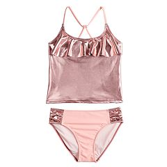 Girls 4-16 SO® Watch Me Shine Ruffled Pink Tankini Swimsuit Set