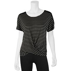 Juniors' IZ Byer Striped Twist Front Top