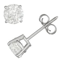 14k White Gold 1 Carat T.W. IGL Certified Diamond Solitaire  Stud Earrings