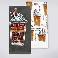 Celebrate Fall Together Pumpkin Spice Latte Kitchen Towel 2-pack