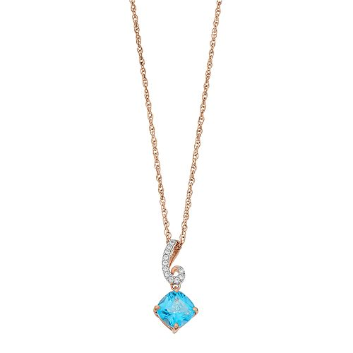 14k Gold Over Silver Swiss Blue Topaz & Lab-Created White Sapphire Pendant Necklace