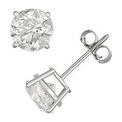 14k White Gold 2 Carat T.W. IGL Certified Diamond Solitaire Stud Earrings