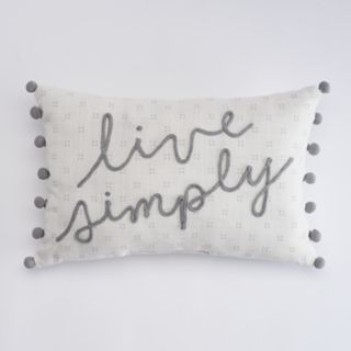 "SONOMA Goods for Life? ""Live Simply"" Oblong Throw Pillow"