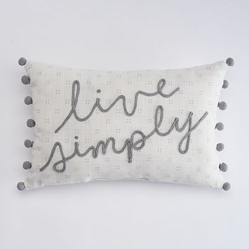 """SONOMA Goods for Life™ """"Live Simply"""" Oblong Throw Pillow"""