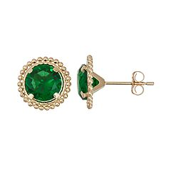 14k Gold Simulated Emerald Beaded Stud Earrings