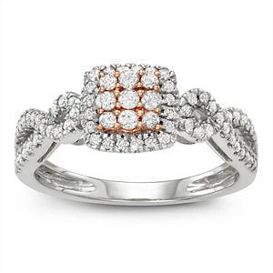 Two Tone 10k White Gold 1/2 Carat T.W. Diamond Square Cluster Ring