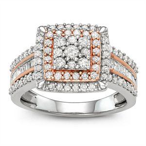 Two Tone 10k White Gold 1 Carat T.W. Diamond Square Halo Cluster Ring