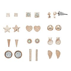 Rose Gold Tone Nickel Free Stud Earring Set