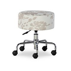 Linon Tillie Faux Cow Print Adjustable Stool