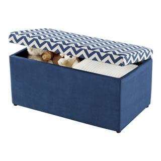 Linon Emily Upholstered Chevron Toy Chest