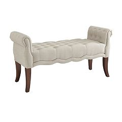 Linon Madison Rolled Arm Tufted Bench