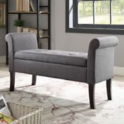 Linon Indie Rolled Arm Tufted Storage Bench