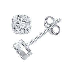 10k White Gold 1/3 Carat T.W. Diamond Square Halo Stud Earrings