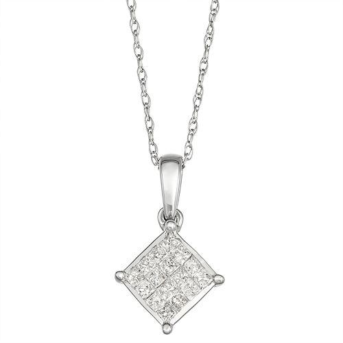 10k White Gold 1/5 Carat T.W. Diamond Square Pendant Necklace