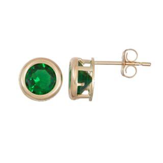 14k Gold Simulated Emerald Stud Earrings