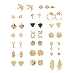Gold Tone Nickel Free Stud Earring Set