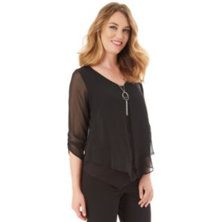 Women's Apt. 9® Asymmetrical Chiffon Popover Top & Necklace Set