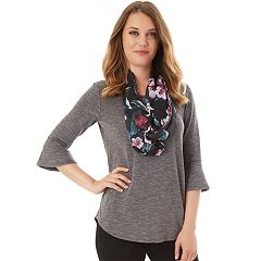 Women's Apt. 9® Bell Sleeve Tee & Scarf Set