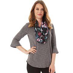 Women's Apt. 9® Bell Sleeve Tee & Scarf Set