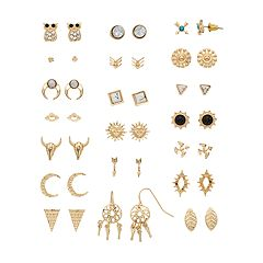 Gold Tone Nickel Free Stud & Drop Earring Set