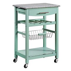 Linon Roger Granite Top Kitchen Cart
