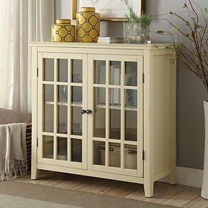 Linon Leslie Window Pane 2-Door Storage Cabinet