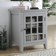 Linon Leslie Window Pane Storage Cabinet