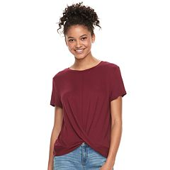 Juniors' Pink Republic Twist Front Tee