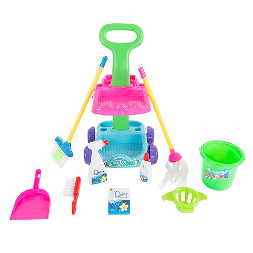 Pretend Play Cleaning Caddy Set on Wheels by Hey! Play!