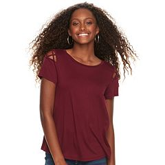 Juniors' Pink Republic Solid Crepe Lattice Shoulder Tee