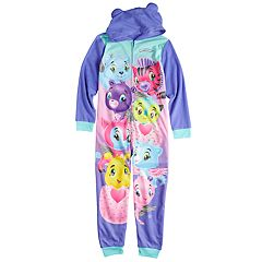 Girls 4-12 Hatchimals One-Piece Hooded Union Suit Pajamas